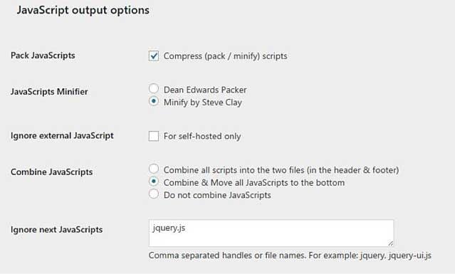 Script Optimizer JS Settings